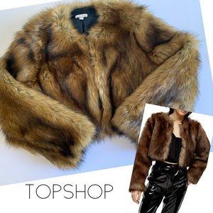 TOPSHOP Faux Fur Crop Coat